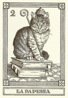 """La Papessa""-- Gatti, by Osvaldo Menegazzi. The deck of 22 tarot cards was published by Il Meneghello in Italy in 1990."