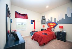 Calling all superheroes!  We love this Superman themed kids room in the Highland Homes' Owenburg model home in Gibsonton, FL. #decorating #decor
