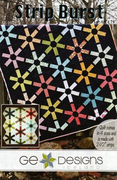 Strip Burst By Erla, Gudrun  - 4 Sizes cover quilt  Lap 64in x 74in Uses Creative Grids CGRT60