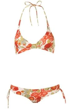 70S Floral Halter Neck Bikini - New In This Week - New In - Topshop USA - StyleSays