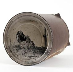 Photography on old rusty cans in packagings art  with Photography Cans Art