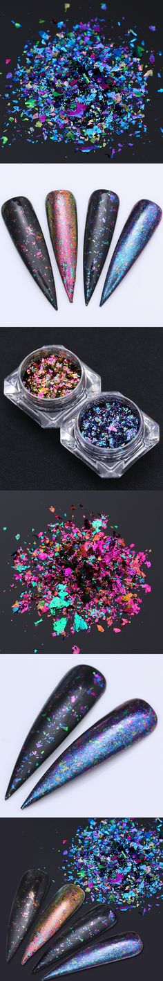 BORN PRETTY Chameleon Nail Sequins Irregular Mixed Color Glitter Paillettes Powder Nail Tips Decoration UV Nail Gel Nail Flakes