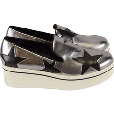 Stella McCartney Women's Steel Binx Star Loafers ($440) ❤ liked on Polyvore featuring shoes, loafers, apparel & accessories shoes, silver, chunky platform shoes, steelers shoes, loafer shoes, chunky black shoes and slip on shoes