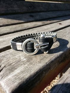 Men's leather bracelet black leather bracelet with clasp / leather bracelet…