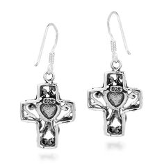 Buy Filligree Cross Sweet Swirl Heart Sterling Silver Dangle Earrings - and Find Large Selection of Designer Jewelry at Best Prices Sterling Silver Dangle Earrings, Drop Earrings, Designer Earrings, Dangles, Jewelry Design, Heart, Sweet, Gifts, Stuff To Buy