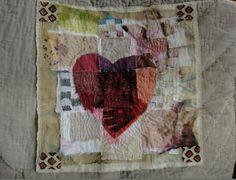 heart, stitching, stitch, stitching on fabric, quilt, quilting, hand stitching, art, artist, designer. Jude Hill Spirit Cloth Block 3