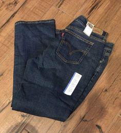 NWT Levi's Women's 505 Straight Leg Jeans Sz 14 Short Misses Dark Wash 3A #Levis #505StraightLeg