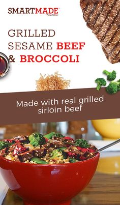 Discover delicious meals made with ingredients and cooking techniques that you would use at home. SmartMade Grilled Sesame Beef & Broccoli is made with real grilled sirloin beef, broccoli, roasted red peppers and onions – all over brown rice, lightly toss Paleo Recipes, Asian Recipes, Crockpot Recipes, Cooking Recipes, Cooking Games, Sausage Recipes, Lunch Recipes, Healthy Herbs, Healthy Cooking
