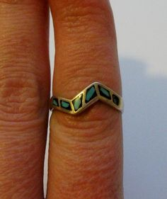 Sterling Silver and Turquoise Ring by onetime on Etsy, $6.25
