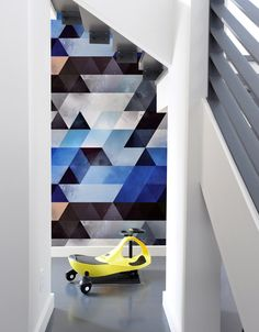 Pattern Wall Tiles bring bursts of pattern into standard home and office spaces in a whole new way. With Pattern Wall Tiles, you can create an accent over a bed, on an interior door or frame a small s Pattern Wall, Wall Patterns, Geometric Artwork, Geometric Designs, Wall Stickers, Wall Decals, Patterned Wall Tiles, Wall Design, Decorating Your Home