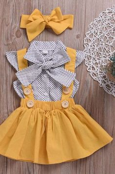 Toddler Girls Tie Neck Polka Dot Blouse And Pinafore Skirt With Headband # Toddler Girl Outfits Blouse Dot Girls Headband Neck pinafore Polka Skirt Tie Toddler Baby Girl Fashion, Toddler Fashion, Kids Fashion, Fashion Outfits, Fashion Clothes, Latest Fashion, Fashion Fall, Dress Fashion, Fashion Trends