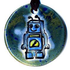 Robot Ceramic Necklace in Blues. $20.00, via Etsy.