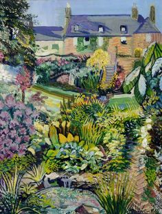 Francis Ferdinand Maurice Cook, (British artist, 1907-):  Down the Garden with Rhododendrons (1956)