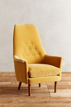 Velvet Alistair Chair in yellow velvet (extra 25% off sale items)