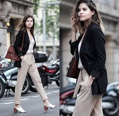 Get this look: http://lb.nu/look/8267347  More looks by Adriana Gastélum: http://lb.nu/bagt  Items in this look:  Cami Nyc Silk Camisole, Chloé Faye Handbag, Mango Beige Trousers, More Outfits On   #chic #classic #formal #feminine #chloe #zara #mules #workwear