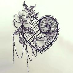 A sexy lace heart for women. Great girly tattoo. Color: Black. Tags: Sexy, Great