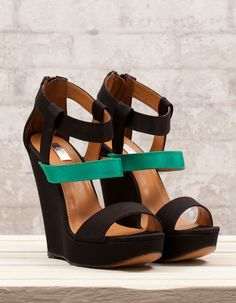 Black and teal wedges