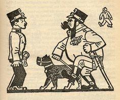"Josef Lada – Illustration for Jaroslav Hašek's ""The Good Soldier Švejk and His Fortunes in the World War,"" 1924 The Good Soldier Svejk, Lucky Luke, World War One, First Novel, Amazing Adventures, Book Illustration, Dog Art, Funny Comics, Statues"