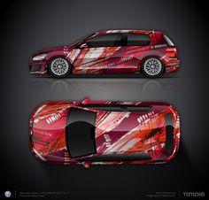Design concept #7 red art car for VW Golf GTI
