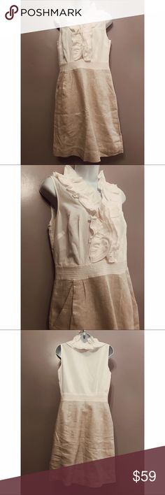 {LOFT} 2-in-1 Shimmer Skirt with Ruffle Top Adorable 2-in-1 dress with sleeveless, ruffle top and pleated, shimmery skirt with pockets. Small stain under one arm - should come out with bleach. LOFT Dresses