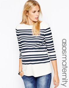ASOS Maternity Top In Premium Soft Jersey And Breton Stripe