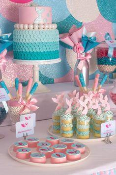 Little Mermaid Birthday Party --dessert Mermaid Theme Birthday, Little Mermaid Birthday, Little Mermaid Parties, Mermaid Party Games, First Birthday Parties, Birthday Party Themes, Birthday Ideas, 4th Birthday, Little Mermaid Invitations