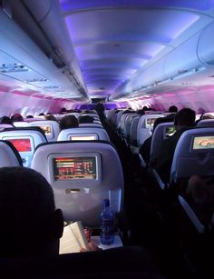 In-flight entertainment (IFE) aan boord van een vliegtuig van Virgin America, Airplane Interior, Private Jet Interior, Virgin America, Aircraft Interiors, Car Interiors, Private Plane, Commercial, Great Vacations, Vacation Ideas