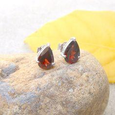 Sterling Silver Garnet Stud Earrings Dark Red by FineSilverStudio