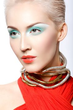 Pair up soft blue/greens with peachy/corals   Makeup: Stephanie Sevilla