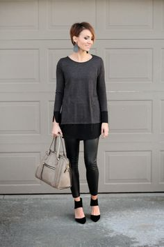 Black monochromatic date night look with leather leggings