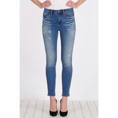 Henry & Belle High Waisted Super Skinny Ankle ($149) ❤ liked on Polyvore featuring jeans, higher rise, leboe, straight-leg jeans, slim skinny jeans, slim fit jeans, super high-waisted skinny jeans and slim straight jeans