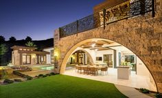 Eldorado Stone facade on this home seamlessly blends the outdoor and indoor space.