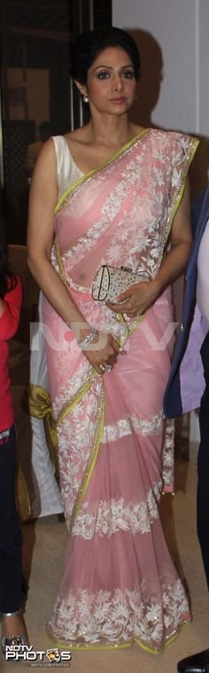 Colour me pink: Sridevi looked lovely in a pink Manish Malhotra sari studded with crystals and pearl beads at a birthday bash in Mumbai.
