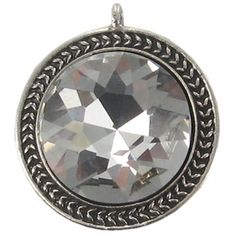 Antique Silver Large Faceted Crystal Penadant   Shop Hobby Lobby