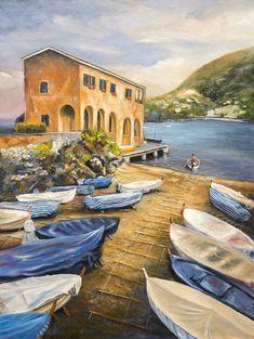 Eril Nisbett - Levanto Boathouse at Dawn - Oil on canvas board Landscape Art, Landscape Paintings, Painter Artist, Oil Painters, Boathouse, Canvas Board, Australian Artists, Oil On Canvas, Dawn