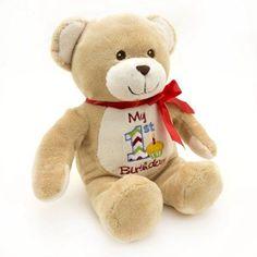 12-inch My First Birthday Plush Toy - Brown Bear