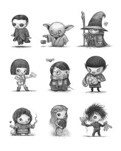 Little Movie Characters Neo, Yoda, Gandalf, Leeloo, Harry Potter, Spock, Willow, Khaleesie, Edward Scissor Hands by www.willterry.com who teaches how to illustrate children's books at www.svslearn.com