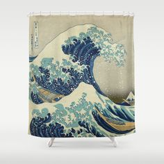 Shower Curtains featuring The Great Wave off Kanagawa by Palazzo Art Gallery. I want this in everything!!!! One of my favs!
