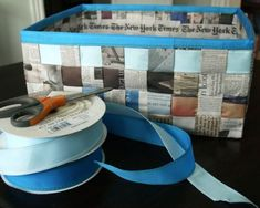 DIY Weave a Simple Storage Basket from Old Newspaper Glue Crafts, Crafts To Make, Sewing Crafts, Arts And Crafts, Diy Crafts, Recycle Newspaper, Newspaper Basket, Newspaper Crafts, Diy Wrapping Paper