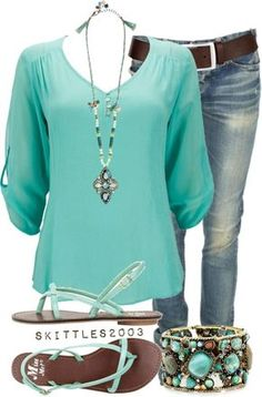 Like the shirt, color, belt and necklace