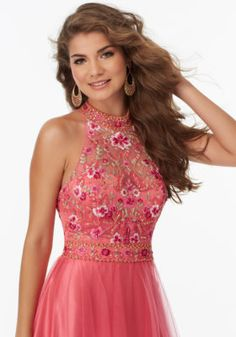 Soft Tulle Prom Gown with Floral Embroidered Bodice and Open Keyhole Back | Morilee