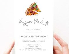 Pizza Party Invitation Printable | Pizza Birthday Party Invitation