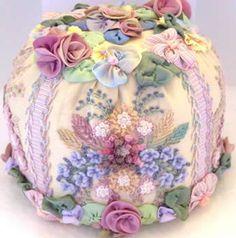silk ribbon embroidery  and ribbon worked flower pin cushion, uses Kreinik Silk Mori.