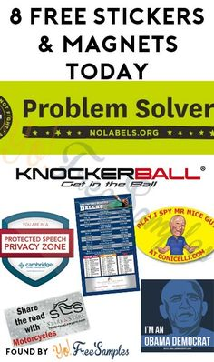 8 FREE Stickers & Magnets Today: Share The Road With Motorcycles Magnet, Problem Solvers Bumper Sticker, 2016 Dallas Cowboy Football Schedule Magnet, Knockerball Bumper Sticker, I Spy Mr. Nice Guy Magnet, You Are In A Protected Speech Privacy Zone Window Cling Sticker & I'm an Obama Democrat Sticker