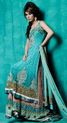 indian dress turquiose color