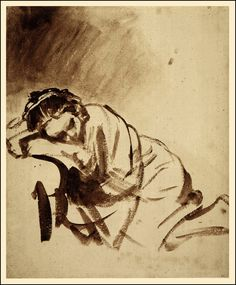 Rembrandt van Rijn, Young Woman Sleeping, 1654, The study is drawn entirely with the brush in brown wash with some white bodycolour.