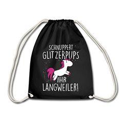 Einhorn Schnuppert Glitzerpups Spruch Turnbeutel von Spreadshirt®, Schwarz