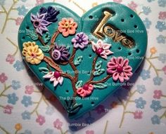 Polymer clay Love Flowers Focal Piece