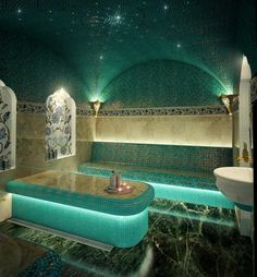 I love the spa feels and turquoise and green tiles mixed with beige. Great lighting too. Spa Design, Steam Spa, Steam Bath, Shower Cabin, Sauna Room, Salon Interior Design, Turkish Bath, Modern Pools, Massage Room