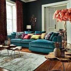Harrington Large Chaise LHF, Lumino Teal | Corner Sofas | Living Room